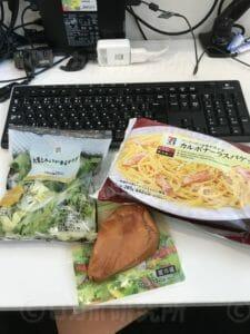 カルボナーラとサラダとサラダチキン